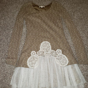 Small Long Sleeve Sweater Dress With Lace Bottom